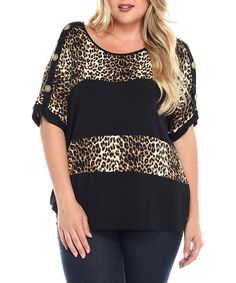 Look at this Black Leopard Stripe Top - Plus on #zulily today!