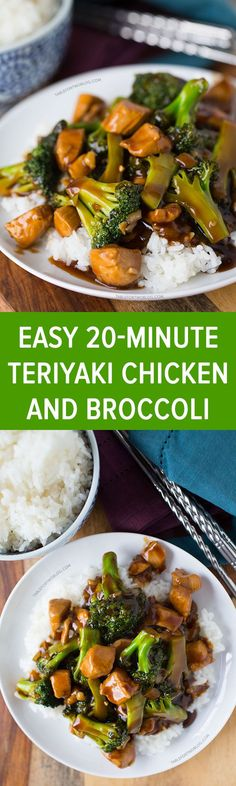 This easy 20-minute teriyaki chicken and broccoli will soon be a favorite in your house! Recipe on tablefortwoblog.com Chicken Terriyaki Recipe, Teriyaki Chicken Recipes, Easy Chinese Chicken Recipes, Chicken And Broccoli Chinese, Chicken Broccoli Stir Fry, Teriyaki Sauce, Seasoned Broccoli, Mushroom Broccoli, Garlic Broccoli