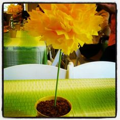 """Tissue paper flower centerpiece with cocoa pebbles """"soil"""" #babyshower. Photo by etessa"""