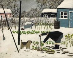 Naive Painting by contemporary British artist Gary Bunt Winter Illustration, Children's Book Illustration, Art Brut, English Artists, Naive Art, Dog Art, Garden Art, Painting & Drawing, Street Art