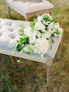 Organic dahlia, veronica, and rose wedding bouquet: http://www.stylemepretty.com/little-black-book-blog/2016/10/14/romantic-backyard-new-hampshire-wedding/ Photography: Ruth Eileen - http://rutheileenphotography.com/