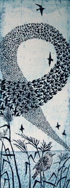 ARTFINDER: In the Loop by Janis Goodman - A blue black etching which portrays a starling murmuration. Catching it as the birds as a combined mass, loop and wheel  through the sky while a single bird ...