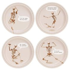 Skeleton Assorted Appetizer Plates - Target - Shop Now and get started on your Halloween to do list! Package includes dessert plates to match your party theme. Each paper plate measures approximately in diameter. Halloween Skeletons, Fall Halloween, Halloween Crafts, Happy Halloween, Halloween Decorations, Halloween Ideas, Halloween Costumes, Halloween Kitchen, Halloween Dinner