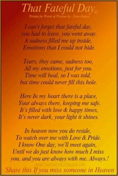 I never knew my heart before....not til I was told your Mom is no more.  :(