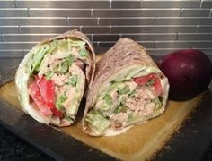 This wrap is SO fresh and packed with yummy goodness! Havarti Cheese, Salad Wraps, Pickle Relish, Tuna Salad, Fish Dishes, Arugula, Burgers, Sandwiches, Fresh