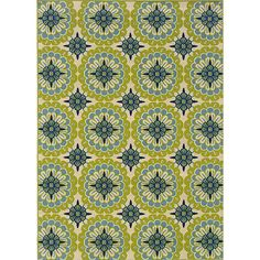 Add retro style and personality to your porch or patio with this polypropylene outdoor area rug. Made of durable polypropylene, this rug is designed to be a lasting addition to your home decor. It features shades of green, ivory, blue, and brown.