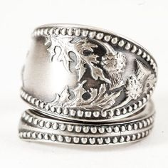 Thistle spoon ring // oh Scotland! Vintage Rings, Vintage Jewelry, Photo Ring, Irish Jewelry, Thistles, Spoon Rings, Things To Buy, Stuff To Buy, Perfect Match