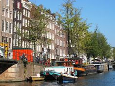 Boat along the canals of Amsterdam
