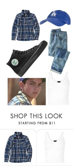 """My Benny "" the jet"" Rodriguez Sandlot Outfit"" by soccer-freak9 ❤ liked on Polyvore featuring Patagonia, Wrap and PF Flyers"