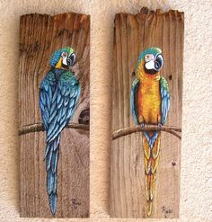 Parrot Plaque Hand Painted on Reclaimed Fence Board Custom