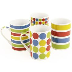 Guaranteed to cause a stir! Sorry, we couldn't help ourselves... The Multi Coloured Spots & Stripes Mug Set features 4 different style mugs which sit together as a set. If you like colourful kitchen accessories then the Multi Coloured Spots & Stripes Mug Set is perfect! Only £14.99. Click http://www.nucasa.co.uk/multi-coloured-spots-stripes-mug-set/ to find out more about this colourful mug sets #mugs #cups