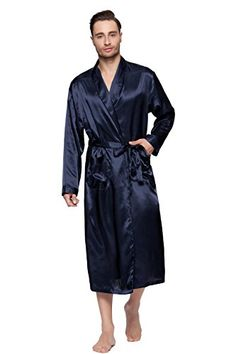 XL INTIMO MEN/'S CLASSIC SILK NAVY BLUE ROBE SIZE M NWT L