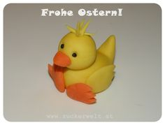ZUCKERWELT: Küken - Chick Tutorial for could be used for polymer clay as well. Polymer Clay Projects, Diy Clay, Clay Crafts, Cake Topper Tutorial, Fondant Tutorial, Easter Cake Toppers, Fondant Animals, Clay Baby, Polymer Clay Animals