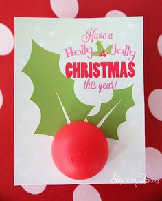 Cute Printable lip balm Christmas gift idea.