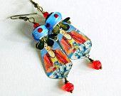 Bohemian lampwork earrings, Tin earrings, Rustic, Blue earrings, Boho, Hippie, Gypsy, Lampwork jewelry, BoHo Chic, Blue and red earrings,