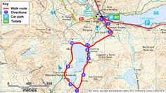 Map route for Cwm Idwal walk, Snowdonia, Wales