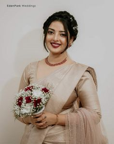 Christian Wedding Sarees, Christian Bride, Saree Wedding, Kerala Engagement Dress, Engagement Dresses, Wedding White, White Bridal, Bridal Looks, Bridal Style