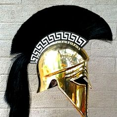 Corinthian Helmet with plume & Greek key Helmet Armor, Arm Armor, Sparta Helmet, Greek Helmet, Greek Soldier, Corinthian Helmet, Ancient Armor, Greek Warrior, Armadura Medieval