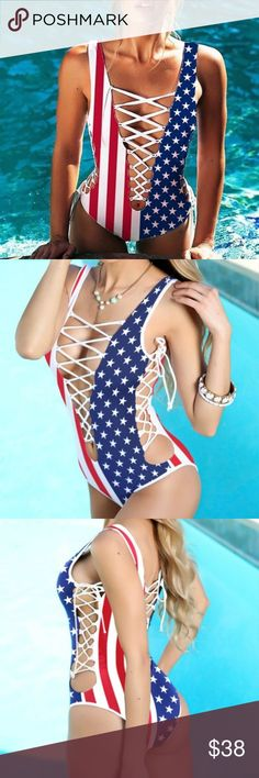 NWT American flag print lace-up swimsuit monokini BNWT! Fit is true to size, order your normal size. Bottoms are very cheeky. ❗️price firm unless bundled❗️✈️ ships same or next day ✈️ Vogue Vice Swim One Pieces