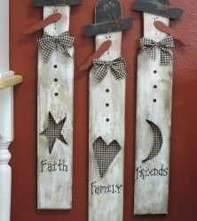 Faith, Family, Friends snowmen made on a Paint stick. With mesh wire on the cutout. Easy to make - oldecrow primitives Primitive Christmas, Christmas Snowman, Rustic Christmas, Winter Christmas, Christmas Ornaments, Father Christmas, Christmas Trees, Snowman Crafts, Christmas Projects