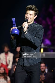Singer Shawn Mendes accepts the award for Best Male on stage at the MTV Europe Music Awards 2016 on November 6, 2016 in Rotterdam, Netherlands.
