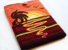 crocheted sunset macbook air sleeve