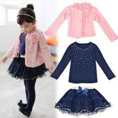 Conjunto de Falda Tutú y Camisa con Abrigo para Niña-Multicolor