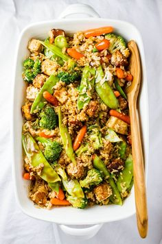 TERIYAKI TOFU-TEMPEH CASSEROLE... I couldn't decide with protein to add so I added them both. Of course, you only need to add one if you like (recipe will explain more). This is and easy and flavorful meal. I know you're going to love it! Plus, there are I'm adding nutrition labels at the bottom of each post!