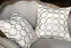 18x18 Embroidered Linen and Silk Trellis Pillow Cover