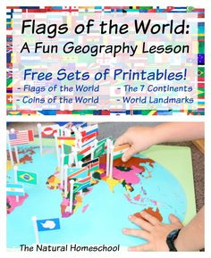 In this post, you will see a really fun lesson that we did about the flags of the world and be sure to get the four sets of free printables! Flags of the World: A Fun Geography Lesson {Free Printable Flag Cards + GIVEAWAY}