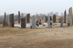 Kinstone Circle with people among the stones to give some  size perspective - facing northeast.