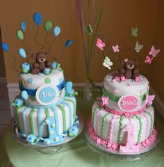 Twin 1 year birthday cakes; boy and girl; bears, turtles and butterflies