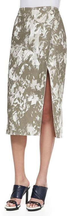 Pin for Later: 34 Wrap Skirts to Get All Tied Up in This Spring  Jason Wu Brushstroke-Print Midi Wrap Skirt, Army Multi ($995)