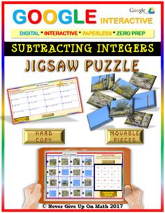 Jigsaw Puzzle:Subtracting Integers (Google Interactive & Hard Copy)