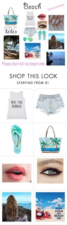 """""""Beach or nah"""" by bearteddyblitz on Polyvore featuring Kate Spade, Ray-Ban and beachtotes"""