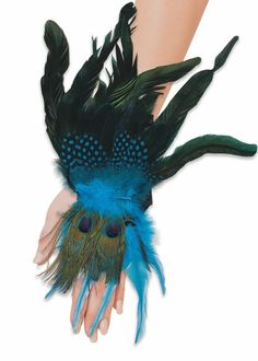 Peacock Feather Feathered Glovettes Glovelettes Wrist Cuffs Costume Accessory #FORUM