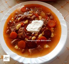 Jókai bableves Soups And Stews, Chili, Healthy Eating, Dinner, Desserts, Recipes, Food, Google, Eating Healthy