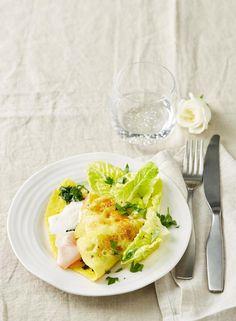 Rezept:   Spinat-Omelett mit Salat