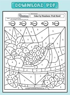 scheda di matematica con disegnoFun and Interactive Preschool Worksheets Coloring Worksheets For Kindergarten, Kindergarten Colors, Worksheets For Kids, Printable Worksheets, Number Worksheets, Preschool Printables, Kindergarten Activities, Preschool Activities, Preschool Pictures