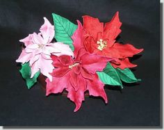 Lace Sculpture Poinsettias  Many poinsettia designs come with only one size petal. But if you look at many poinsettias, the petals (bracts or modified leaves) are all different sizes. I have included enough variations in petals for you to create any type of poinsettia for your holiday decorations. Some Image, Poinsettia, One Color, Machine Embroidery Designs, Color Inspiration, Create, Rose, Flowers, How To Make