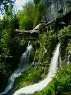 Waterfall walkway, St. Beatus caves Switzerland