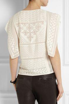 Isabel Marant|Allen embroidered silk-georgette top|NET-A-PORTER.COM