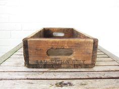 Vintage Wood Box - Rustic Wooden Tray - Farmhouse Decor - Storage and Organization - Gardening Tray - Wood Crate with Handles - Lamination