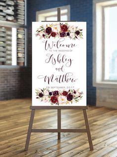 Printable Wedding Sign Marsala Welcome Wedding Sign Burgundy