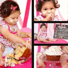 A baby is eating a cake on her birthday. One Year Old Baby, Pink And White Dress, Baby Eating, Children, Birthday, Cake, Young Children, Boys, Birthdays