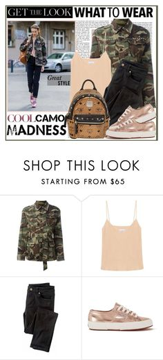 """Anna Wilken : )"" by thisiswhoireallyam7 ❤ liked on Polyvore featuring Yves Saint Laurent, Raey, Wrap, Superga, MCM, camostyle and sportystyle"