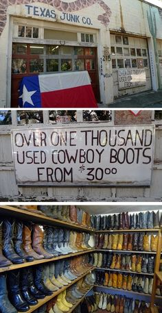 Shhhh!  It's one of Houston's Best Kept Secrets!  Cowboy boots starting at 30 bucks???  Really?  Click the image for more info. @Taylor Leader we neeeed to go here!