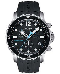 Tissot Men's Swiss Chronograph Seastar 1000 Black Rubber Strap Watch 45mm T0664171705700