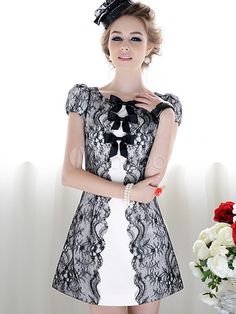 Charmante mini robe avec dentelle et noeud et col ras du cou - Milanoo.com c427dae70220