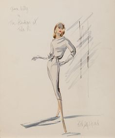 Edith Head 1954 Costume sketch for Grace Kelly from The Bridges at Toko-Ri